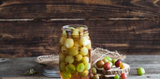 gooseberry pickles in a jar
