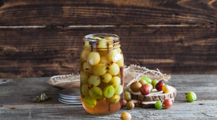 gooseberry pickles in a jar