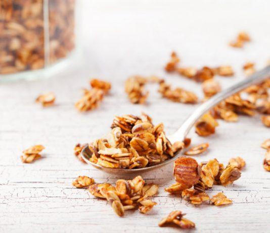 Granola Recipe on a spoon