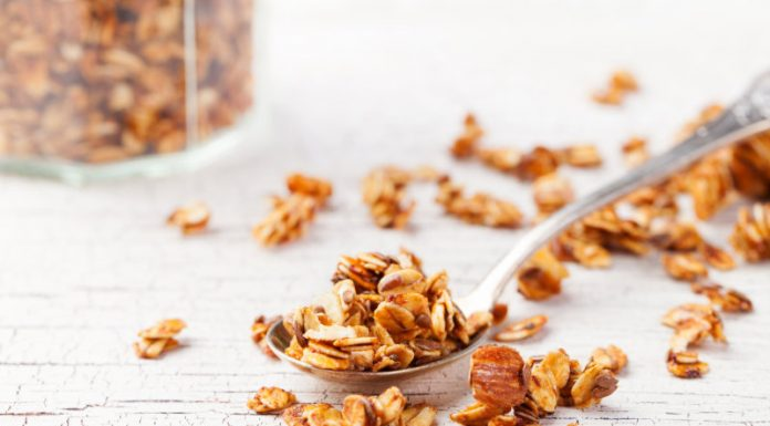 Granola Recipe on a spoon