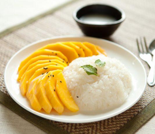 Mango Sticky Rice on a plate