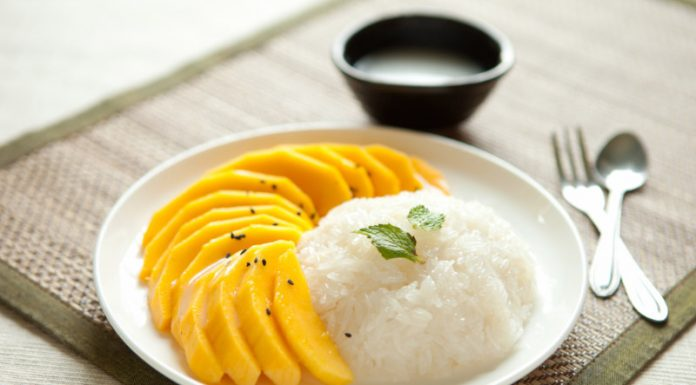 Mango Sticky Rice on a plate