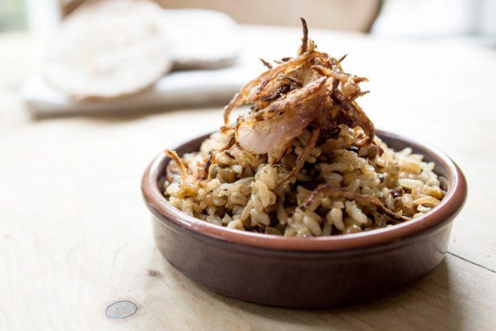 mujadara rice in a bowl