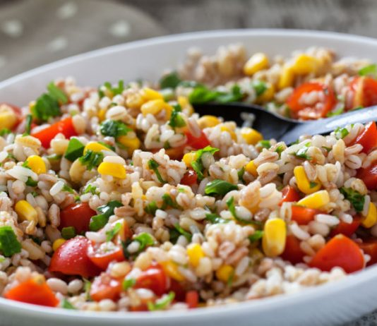 orzo salad with summer veggies in a bowl