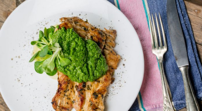 Pesto Chicken on a plate