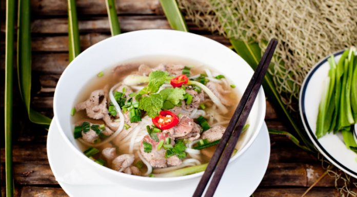 Pho soup in a bowl