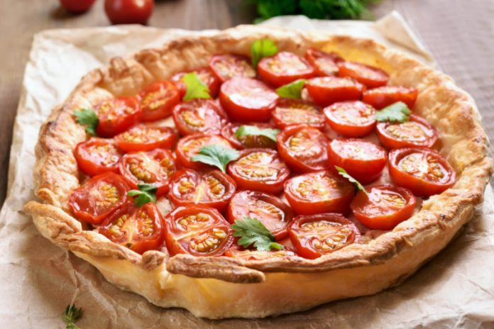Tomato Pie on parchment paper