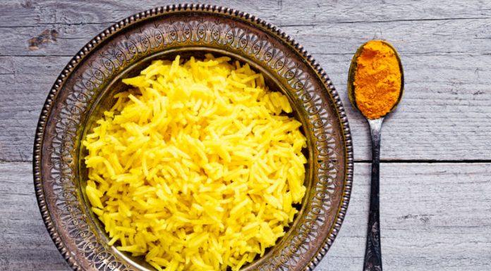 turmeric rice in a bowl
