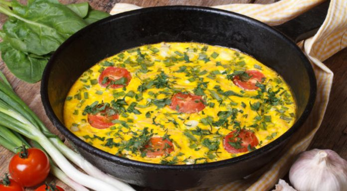 vegetable omelette in a pan