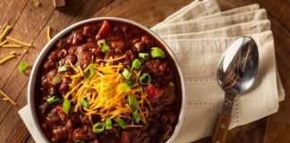 vegetarian chili in a bowl with grated cheese and green onions on top