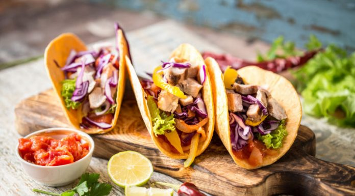 Vegetarian Tacos on a wood board
