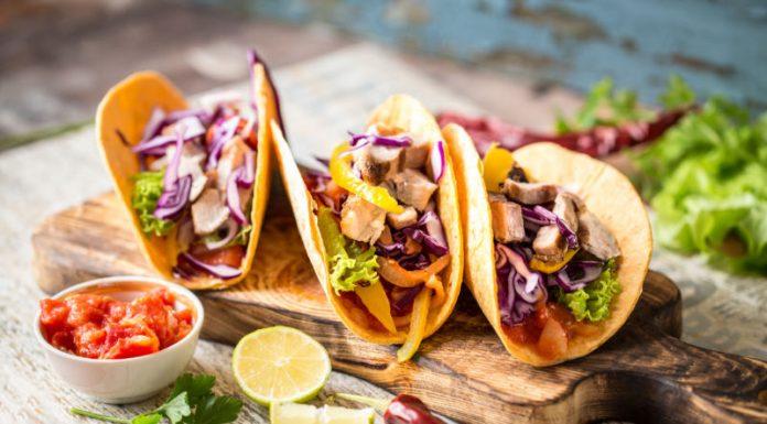 Vegetarian Tacos on a wood board