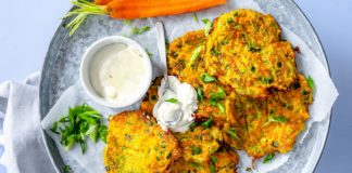 Zucchini Fritters on a plate with Greek yogurt