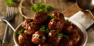 bbq meatballs on a plate