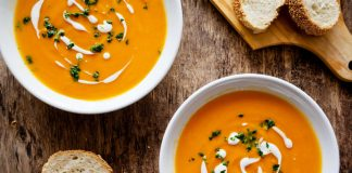 carrot potato soup in a bowl