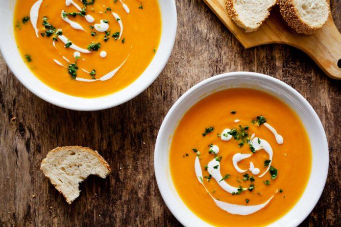 carrot potato soup in a bowl