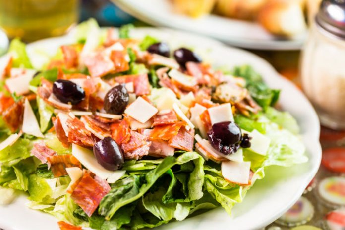 Italian chopped salad on a plate