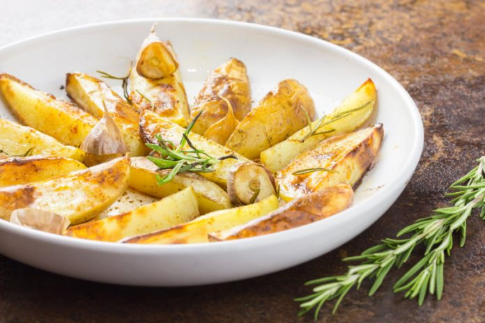 fingerling potatoes with rosemary in a bowl