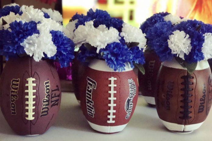 football flower vases