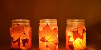 DIY Fall Mason Jar Candle Holders