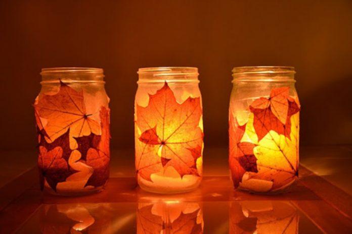 DIY Fall Mason Jar Candle Holders