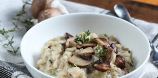 vegan mushroom risotto in a bowl