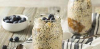 peanut butter overnight oats in a mason jar