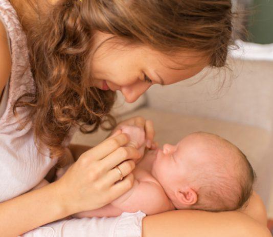mom and newborn baby