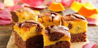 Pumpkin Brownies cut into squares