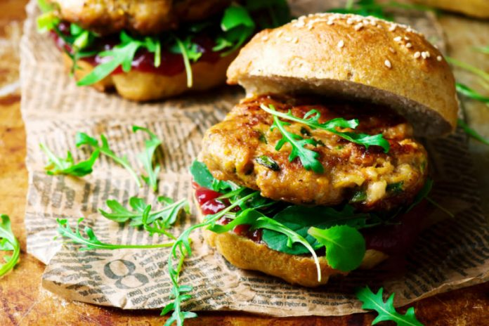 Turkey Burger in a bun with greens