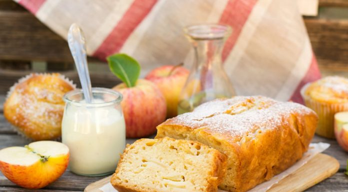 loaf of apple bread made with greek yogurt