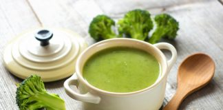 broccoli soup in a pot