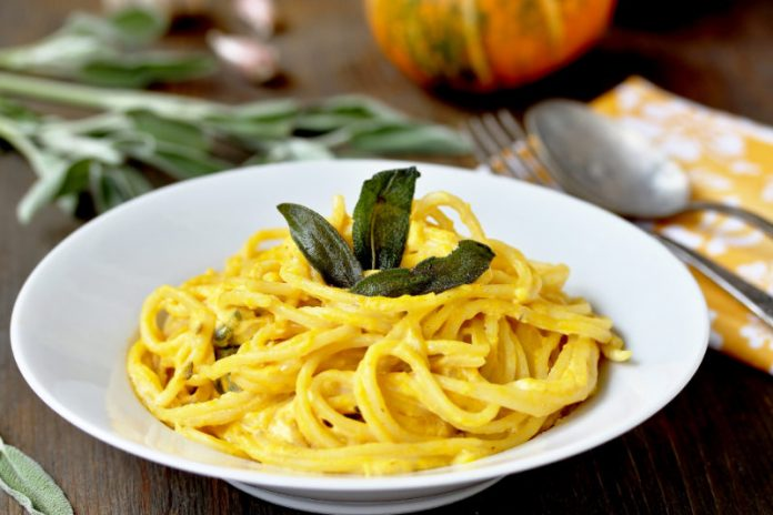butternut squash pasta in a bowl with fried sage on top