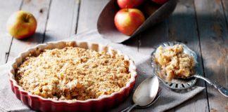 Gluten-free apple crisp in a pie plate