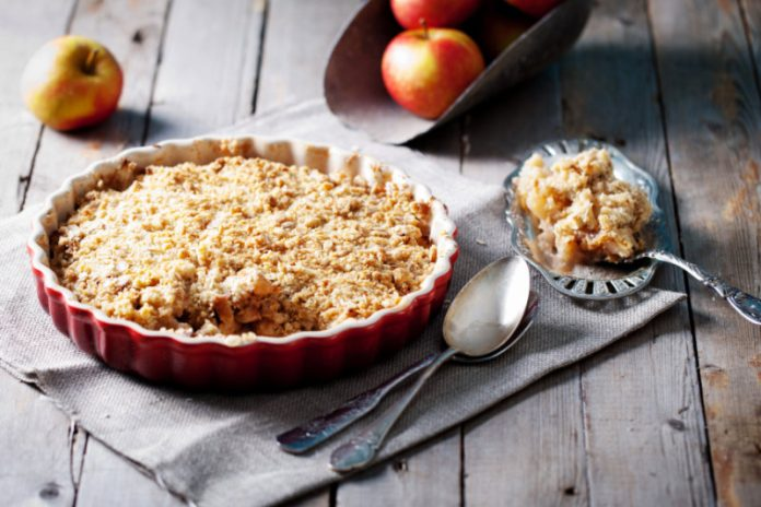 Gluten-free apple crisp in a pie plate