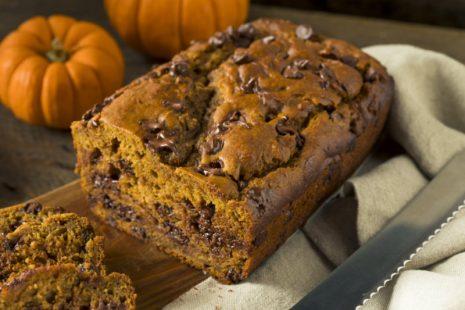 Gluten-Free Chocolate Chip Pumpkinn Bread on a wooden board