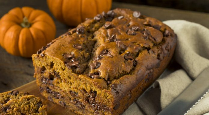 Gluten-Free Chocolate Chip Pumpkinn Bread on a wooden board
