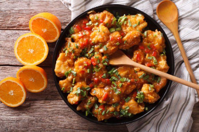 Healthy Orange Chicken in a bowl