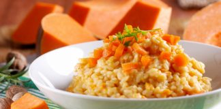 pumpkin risotto in a bowl