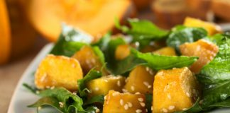 pumpkin salad with sesame seeds on a plate