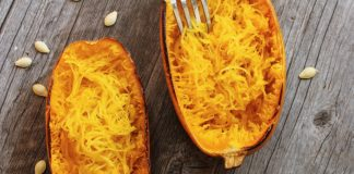 roasted spaghetti squash on wooden board