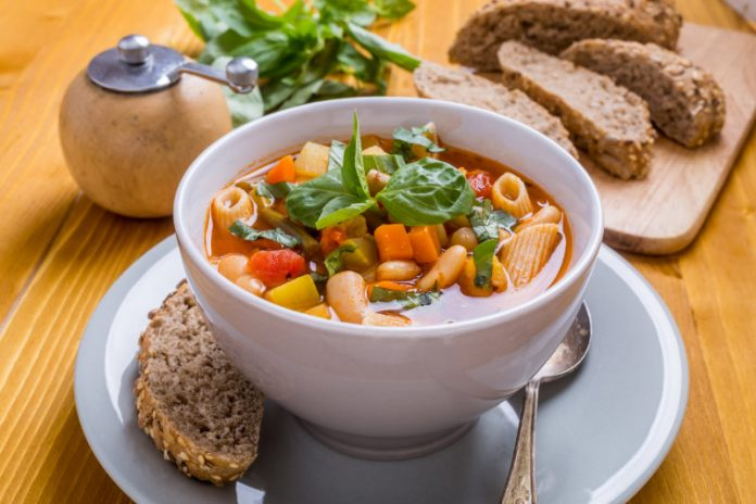vegan minestrone soup in a bowl