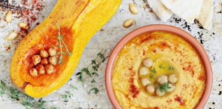 roasted butternut squash humus in a bowl