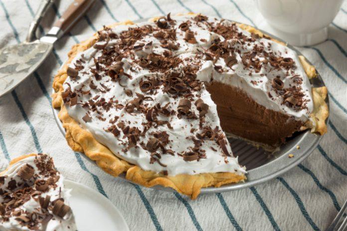 chocolate pie in a pie dish