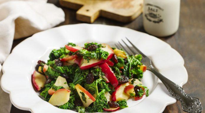 kale apple salad on a plate