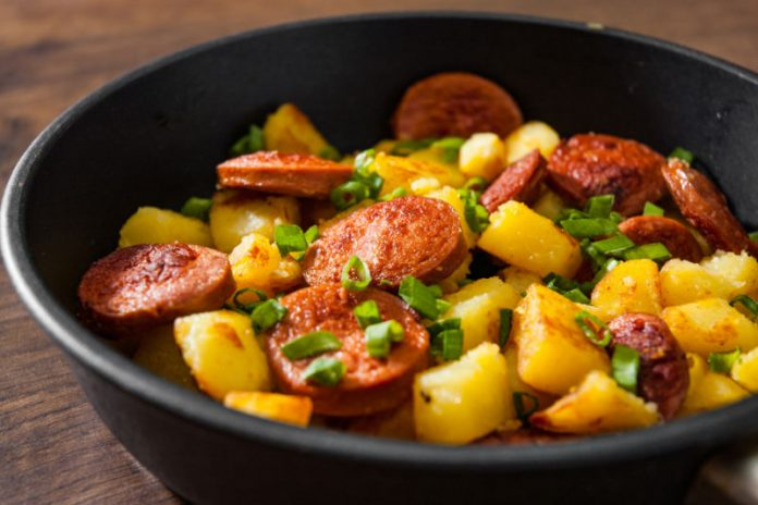 Kielbasa and Potatoes in a skillet