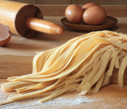 low carb egg noodles on a wooden board