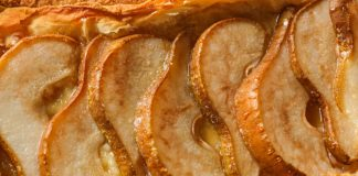 close-up of gluten-free pear tart