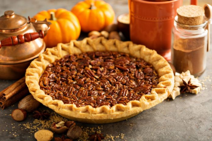 Sugar-Free Pecan Pie in a pie dish