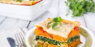 Pumpkin lasagna slice on a plate
